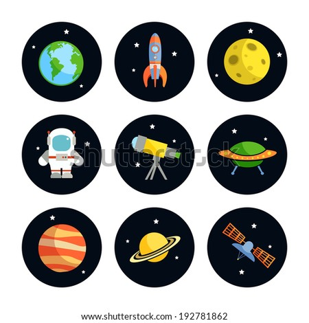 Space and astronomy round icons set of earth rocket moon astronaut isolated  illustration