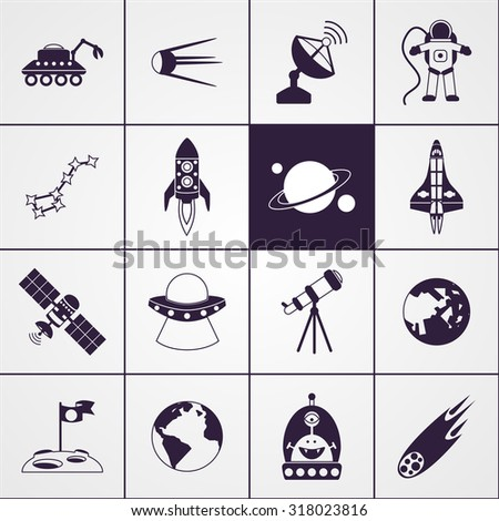 Space and astronomy science technologies icons black set isolated  illustration