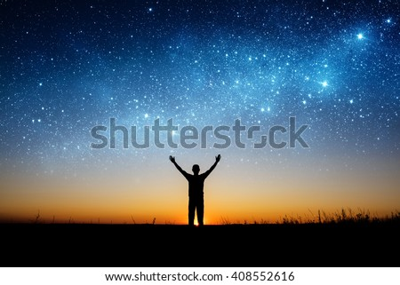 Space and man. Elements of this image furnished by NASA. - stock photo