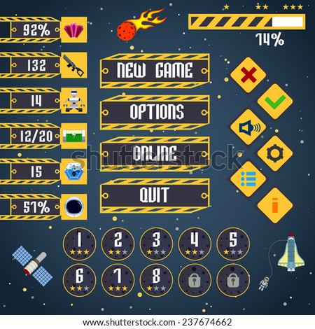 Space arcade adventure game menu interface layout template  illustration