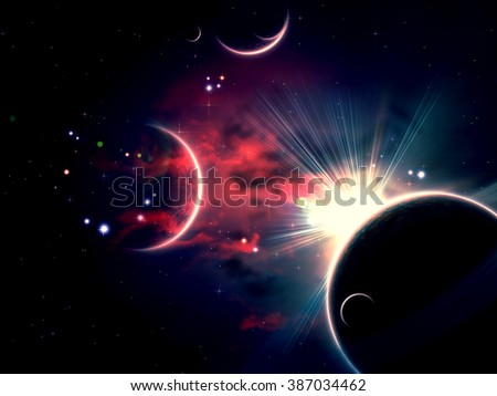 Space background with abstract clouds, stars and planets. - stock photo