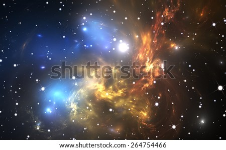 Space background with colorful nebula and stars - stock photo