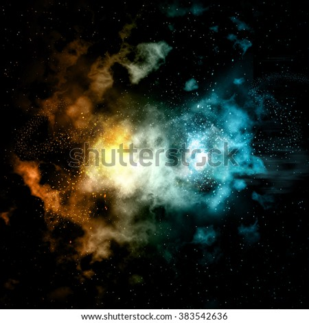 Space background with colourful nebula and fire and ice effect - stock photo