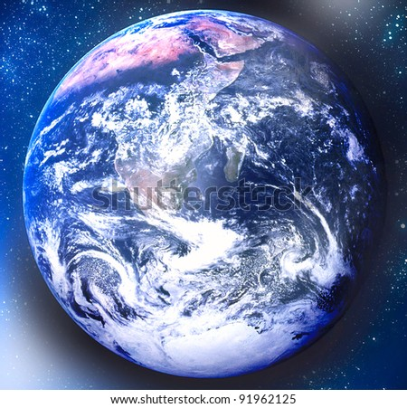 Space background with earth and stars - stock photo