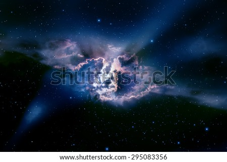 Space background with nebula and stars. - stock photo