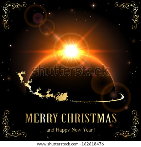 Space background with planet and Santa, illustration. - stock photo