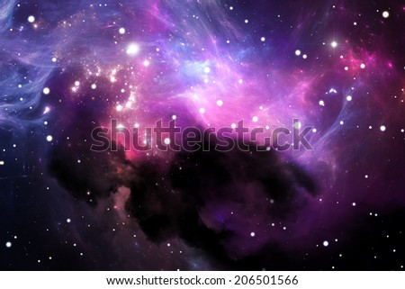 Space background with purple nebula and stars - stock photo