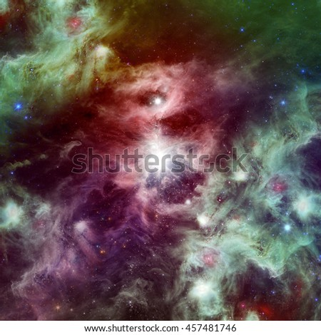 Space beautiful nebula with bright stars and clouds - stock photo