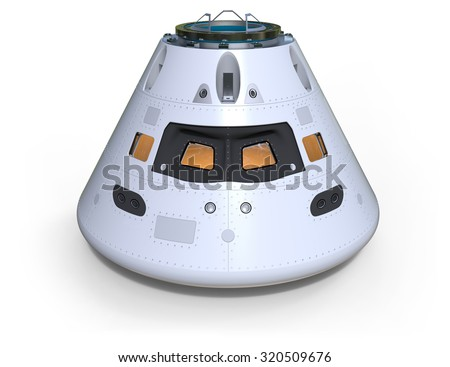 Space capsule isolated on white - stock photo