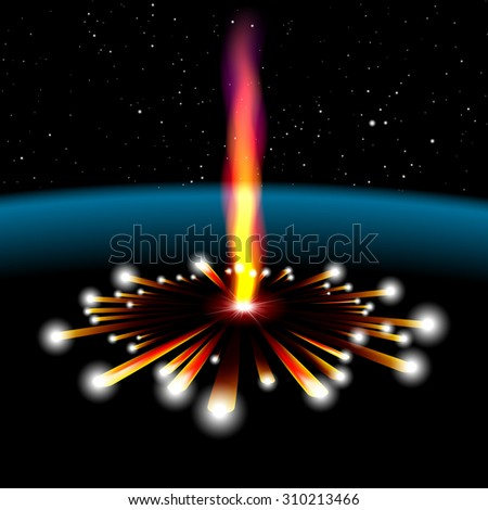 Space card with vertical meteorite hit and explosion - stock photo