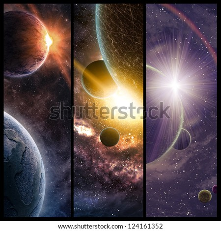 Space collage - stock photo