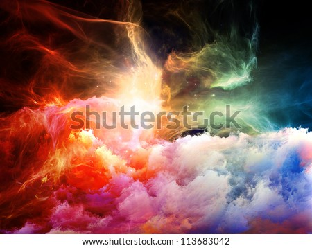 Space Dance Series. Interplay of nebulous textures, lights and gradients on the subject of astronomy, imagination, fantasy and creativity - stock photo