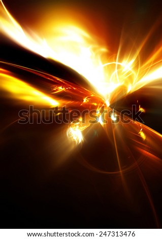 Space fantasy. Abstract ardent background. Glowing dynamic template with lighting effect for creative design. Futuristic explosion for wallpaper desktop, poster, cover booklet, flyer. Fractal art - stock photo