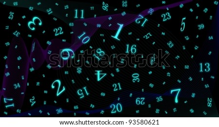 Space filled glowing numbers and waves - stock photo