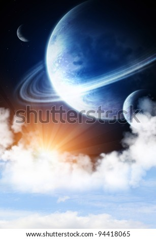 Space flare. A beautiful space scene with planets and nebula - stock photo