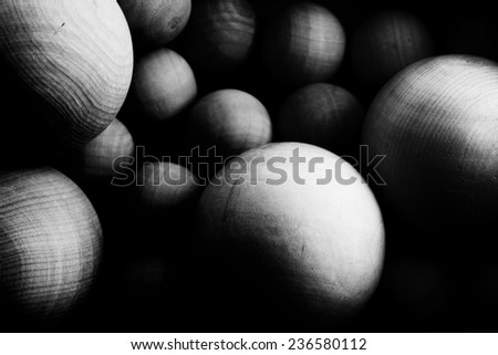 Space full of wooden Spheres. Particles concept image.  - stock photo