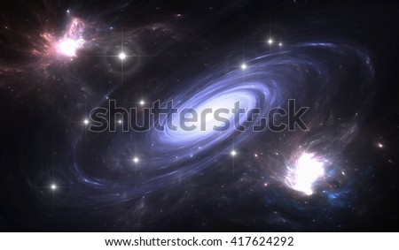Space galaxy. Space background with blue galaxy and stars for use with projects on science, astronomy, universe and education  - stock photo