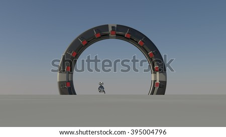 Space Gate into other world 3d raw render - stock photo