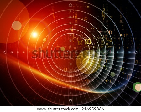Space Geometry series. Interplay of Math, geometry and design elements on the subject of science, technology and education - stock photo