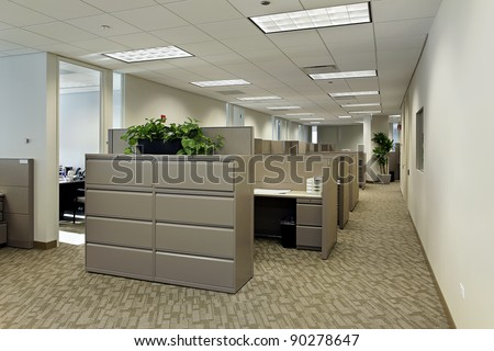 Space in office building with cubicles - stock photo