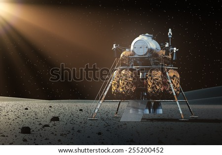 Space Lander On The Planet. 3D Scene. - stock photo