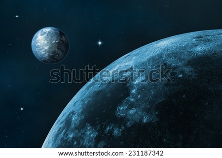 Space landscape (earth and moon). Blue starry sky. In the creation of 3D-image textures used by NASA. - stock photo