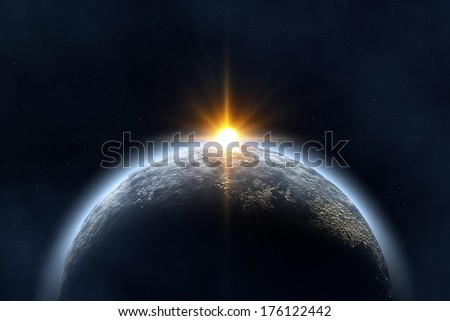 Space landscape : earth and sun