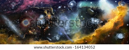 Space landscape. Elements of this image provided by NASA - stock photo