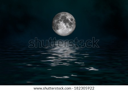 Space landscape: mysterious moon (image created Institute Cinema 4d, and Photoshop).  - stock photo