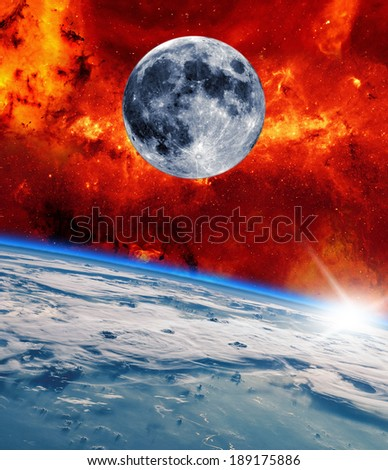 Space landscape. View from the Earth. Elements of this image provided by NASA