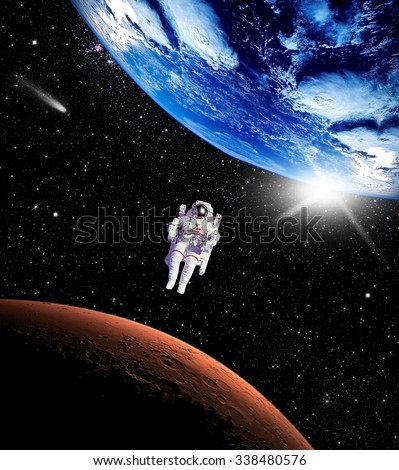 Space landscape, view of the Earth and Mars. Elements of this image furnished by NASA