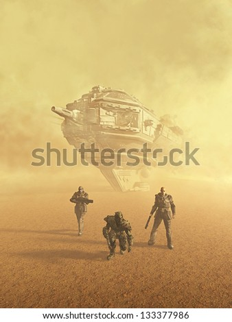 Space marine trackers following a trail on a desert planet, 3d digitally rendered illustration - stock photo