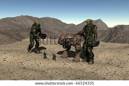 Space marines and battle machine meet giant aliens on a desert planet - stock photo