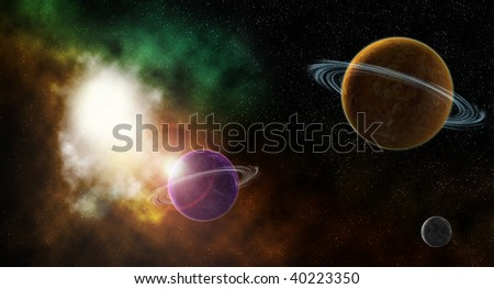 Space nebula and planets