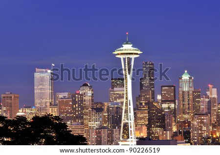 Space Needle, Seattle Skyline at Night - stock photo