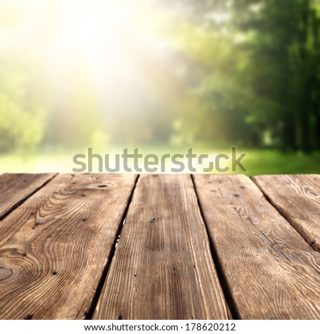 space on desk and garden  - stock photo