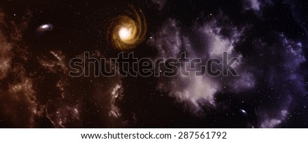 Space panorama with nebula and galaxy. - stock photo