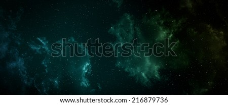 Space panorama with nebula and stars.   - stock photo