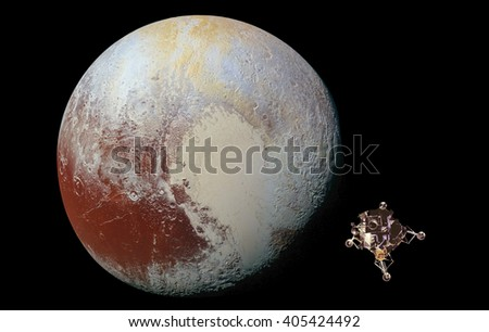 Space probe on orbit of pluto planet. Retouched image. Elements of this image furnished by NASA.