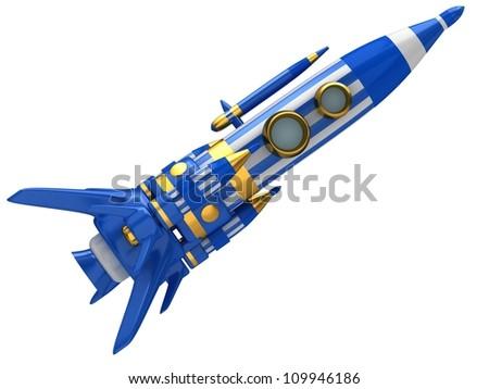 Space Rocket isolated on white background - stock photo