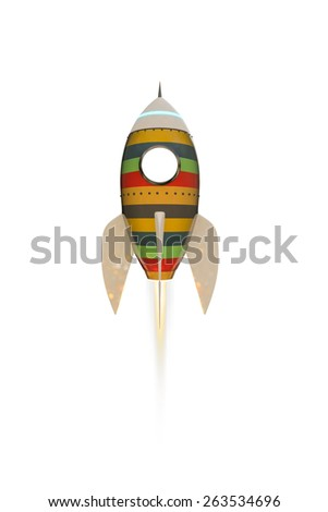 space rocket isolated on white background - stock photo