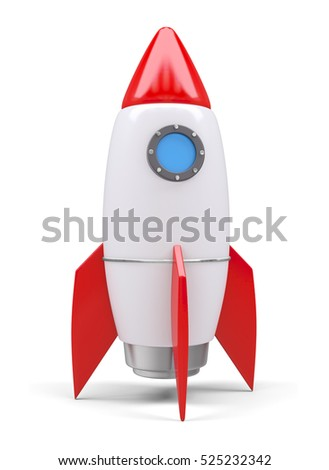 Space rocket, isolated on white. 3D rendering