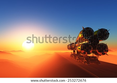 Space rocket on a colorful sunset. - stock photo