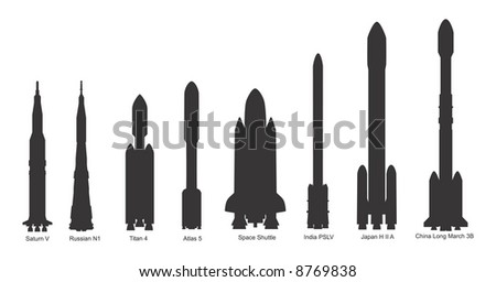 Space rocket silhouettes: Saturn V, Russian N1, Titan 4, Atlas V, Space Shuttle, India PSLV, Japan H II A, China Long March 3B; from NASA sources