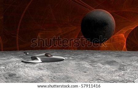 Space scene of surface of planet with spaceship - stock photo