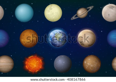 Space Seamless Background with Solar System Planets Sun, Earth, Moon, Mercury, Venus, Mars, Jupiter, Saturn, Uranus, Neptune, Pluto and Charon. Elements Furnished by NASA, http://solarsystem.nasa.gov - stock photo