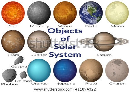 Space Set Planets Solar System, Sun, Earth, Moon, Venus, Mercury, Mars, Pluto, Charon, Phobos, Deimos, Gaspra, Neptune, Jupiter, Saturn and Uranus. Elements Furnished by NASA - stock photo