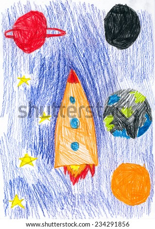 space ship. children drawing. - stock photo