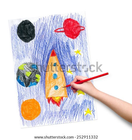 space ship. children drawing hand with crayon. - stock photo
