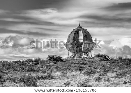 Space ship in the desert, - stock photo